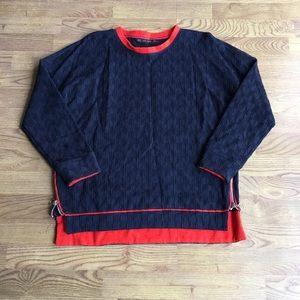 Zara • Navy and Orange Sweatshirt w/ Zipper Detail